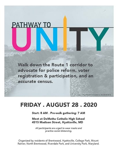 Pathway to Unity Flyer with a picture of the Lincoln Memorial Reflecting Pools looking towards the Capitol with crowds of people.