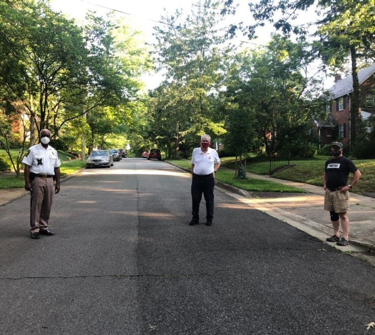 Walking Wednesdays with Chief Baker, Mayor Carey and Councilmember Joe Schultz walking through Town