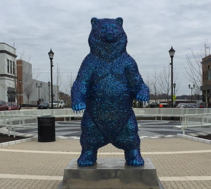 Riverdale Park Station Blue bear at bear square